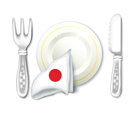 Plate Fork Knife with Japan Flag Vector