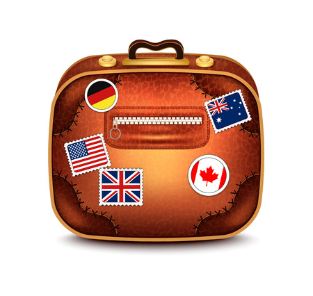 australia stamp: Suitcase With Stamps Illustration