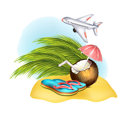 caribbean party: Flip Flop, coconut on sand