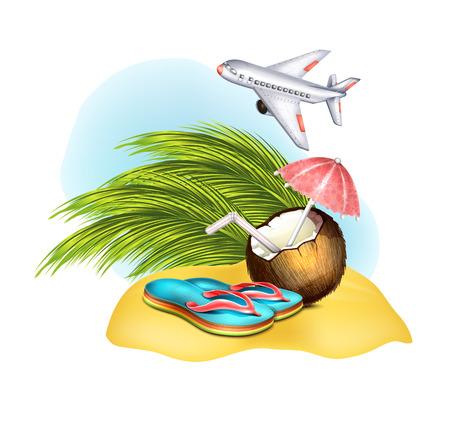 caribbean party: Flip Flop, de coco en la arena Vectores