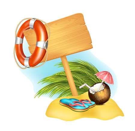 Caribbean sea: Summer Icon with coconut and flip-flop Illustration
