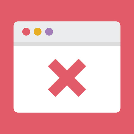 page not found: Browser and X Mark Icon Illustration