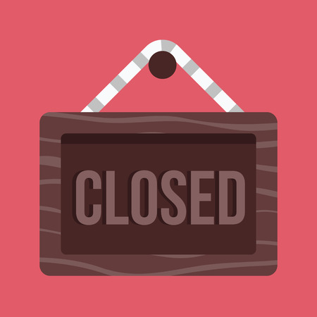 closed sign: Closed Hanging Sign Icon Illustration