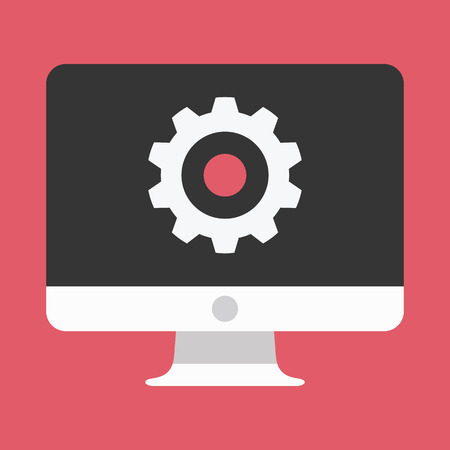 Computer Display and Gear Icon