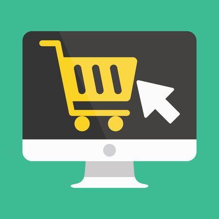 e cart: Computer Display Buy Online Icon Ecommerce Concept
