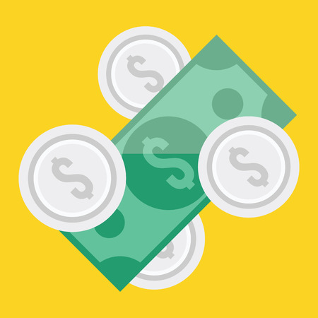 silver coins:  Dollar Bill and Coins Icon