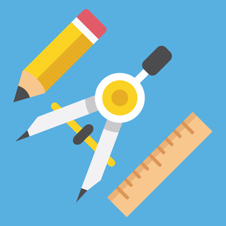 prototyping: Drawing Compass Pencil and Ruler Icon Web Design Concept Illustration