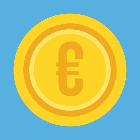 Gold Coin Euro Icon Illustration