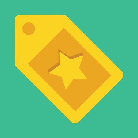 gold star:  Gold Tag with Star Sign Icon