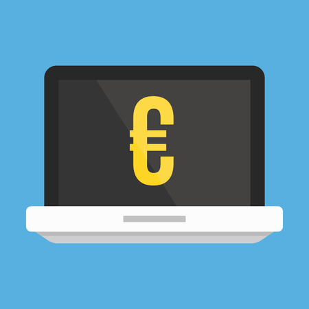 Laptop and Euro Sign Icon