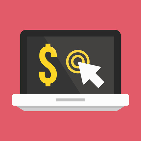 cpl:  Laptop Internet Earnings Pay per Click Concept Icon Illustration