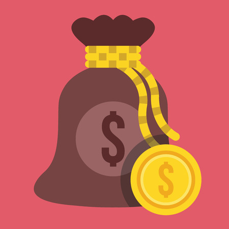 Money Bag and Euro Gold Coin Icon Vector