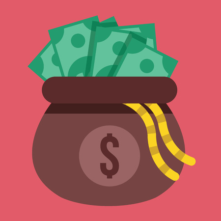 Opened Money Bag Full of Money Icon Vector