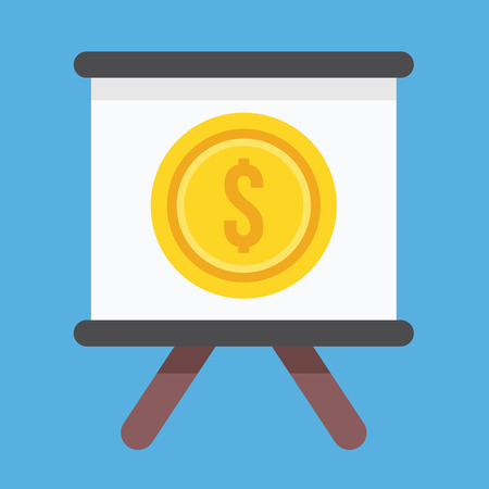 Vector Presentation Board and Dollar Sign Icon Vector