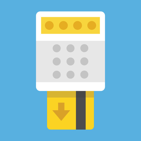 bank transfer: Remove Credit Card from Terminal Icon Illustration
