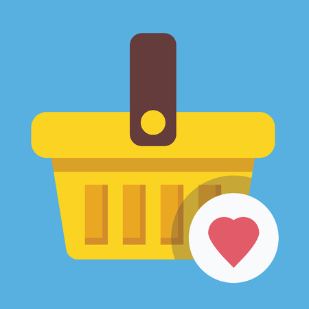 favorite: Shopping Basket and Heart Shape Icon Favorite Goods Concept
