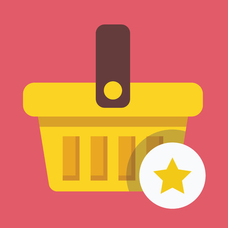 Shopping Basket and Star Sign Icon Vector
