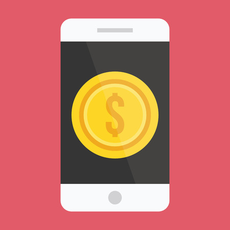 Smartphone and Gold Coin Dollar Icon Vector