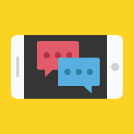 Smartphone Landscape Orientation Chat Icon Vector