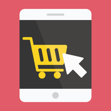 online icon: Tablet Buy Online Icon Ecommerce Concept Illustration