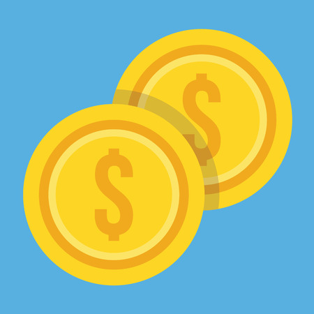 dollar icon: Two Gold Coins Dollar Icon