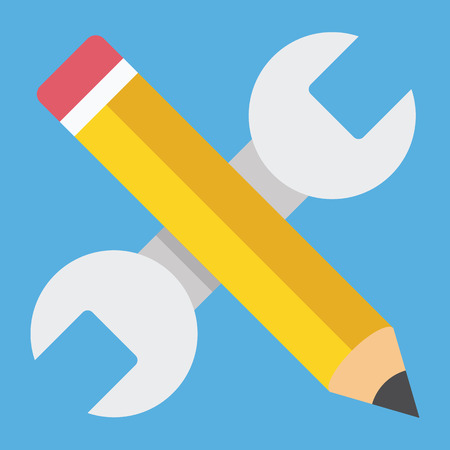 Wrench and Pencil Icon Web Development Concept Illustration