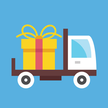 free shipping: Delivery Truck and Gift Box Icon