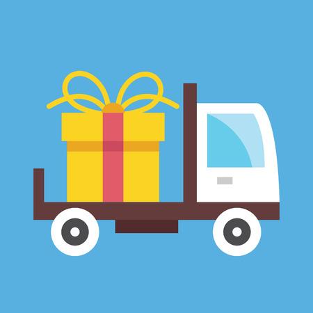 Entrega de camiones y caja de regalo del icono Foto de archivo - 26455022