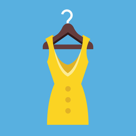 Dress Hanging on Hanger Icon Vector