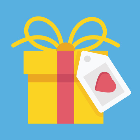 e new: Gift Box and Label with Heart Shape Icon