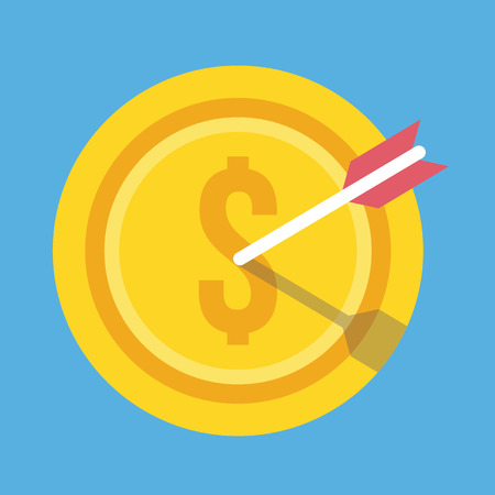 Gold Coin and Arrow Icon Successful Business Concept Vector