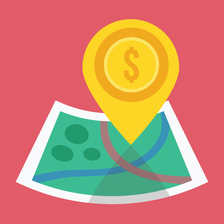 land mark: Vector Gold Map Label and Map Icon Illustration