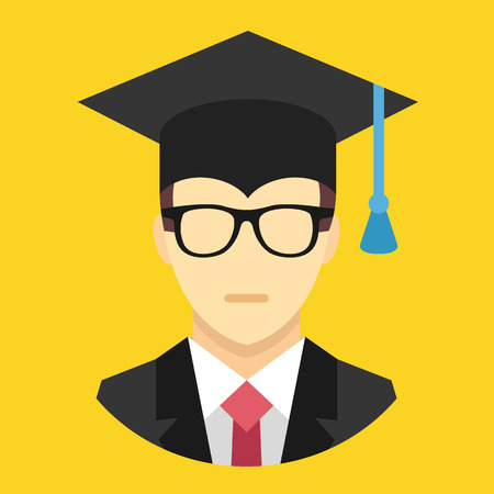 college graduation: Vector Graduation Man Icon Illustration