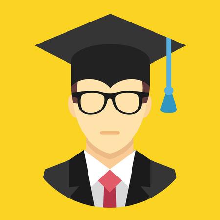alumnus: Vector Graduation Man Icon Illustration
