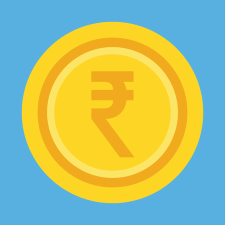 Vector Indian Rupee Gold Coin Icon Illustration