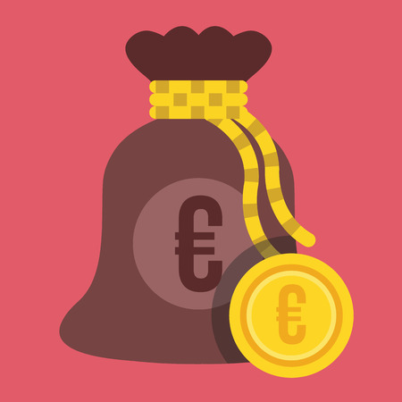 knotted rope: Vector Money Bag and Euro Gold Coin Icon Illustration