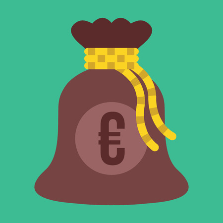 Vector Money Bag with Euro Sign Icon Vector