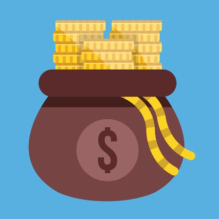 Vector Opened Money Bag Full of Gold Coin Stacks Icon Illustration