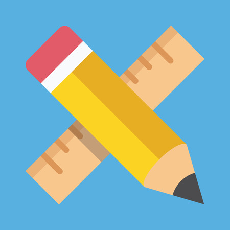 Vector Pencil and Ruler Icon Education or Prototyping Concept