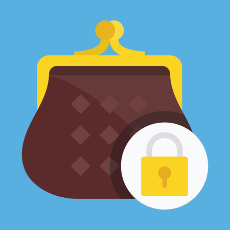 Vector Purse and Lock Icon Money Protection Concept Vector