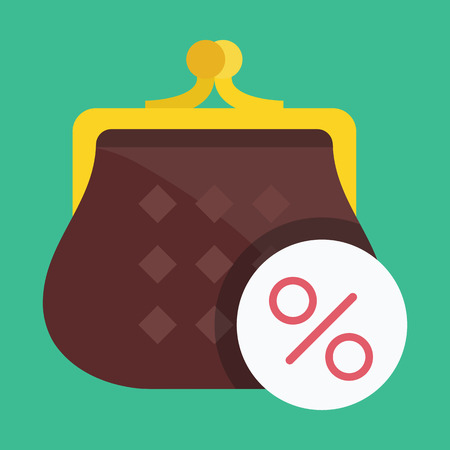 Vector Purse and Percent Sign Icon Vector