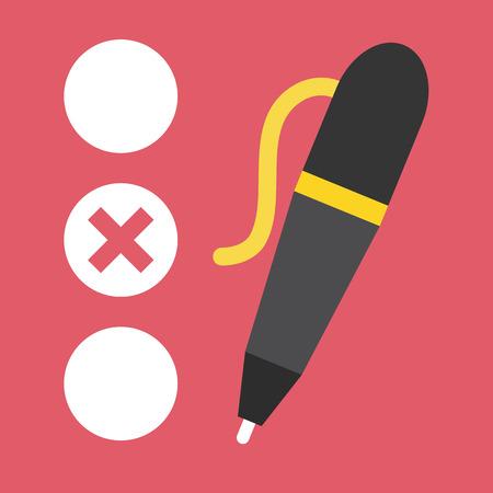 kwis: Vector Quiz en Pen Icoon Stock Illustratie