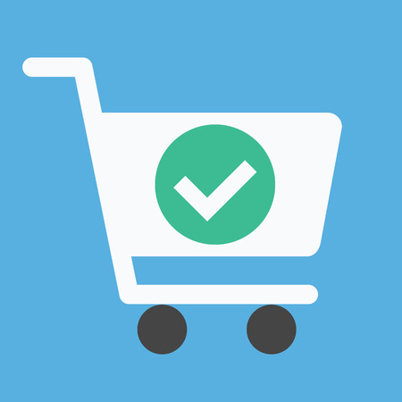 e cart: Vector Shopping Cart and Check Mark Icon Illustration
