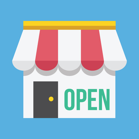 shop window: Vector Shop Building with Open Sign Icon Illustration