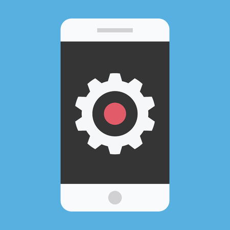 utility: Vector Smartphone and Gear Icon Settings or Mobile Development Concept Illustration