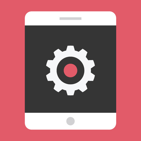 customize: Vector Tablet and Gear Icon Settings or Mobile Development Concept