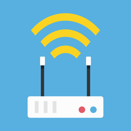 ethernet: Vector Wireless Network Router Icon Illustration