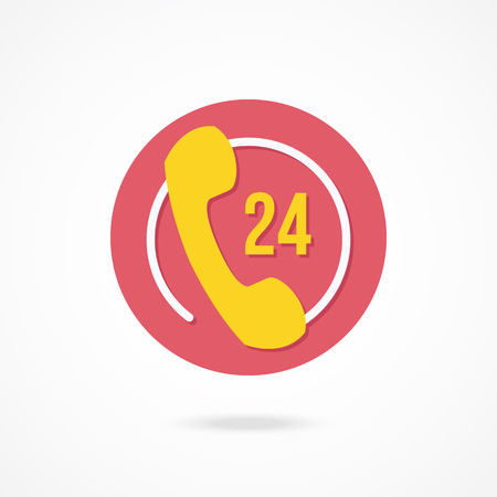 Vector 24 Hours Customer Service Icon Vector
