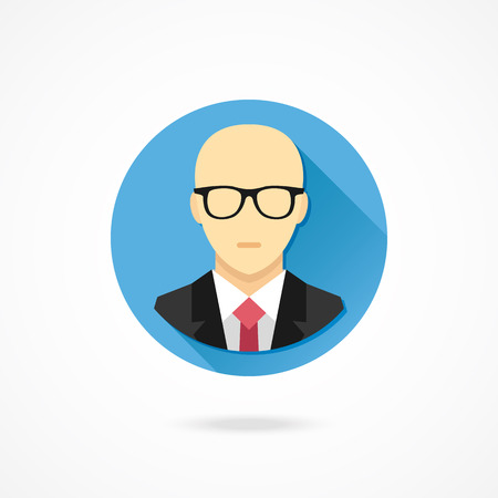 Vector Bald Man in Business Suit Icon Illustration