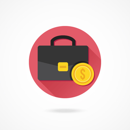 proceeds: Vector Briefcase and Gold Coin Icon Illustration